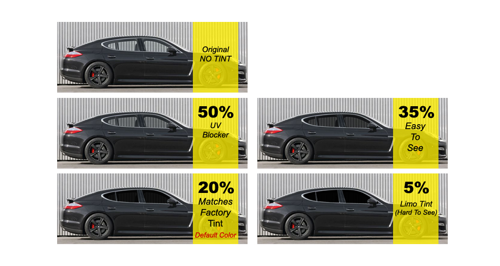 Window Tint Shades http://www.filmvantage.com/window_film/shadescomparison.html