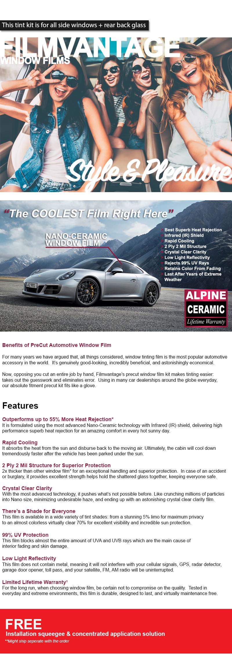 ALPINE PRECUT AUTO WINDOW TINTING TINT FILM FOR LEXUS GS 350 07-12